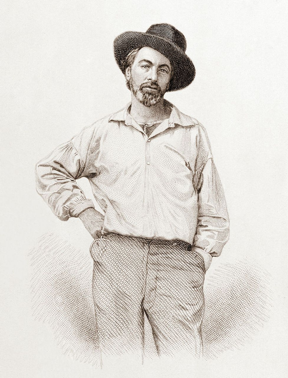 Walt Whitman, 35, from the frontispiece to Leaves of Grass, steel engraving by Samuel Hollyer from a lost daguerreotype by Gabriel Harrison