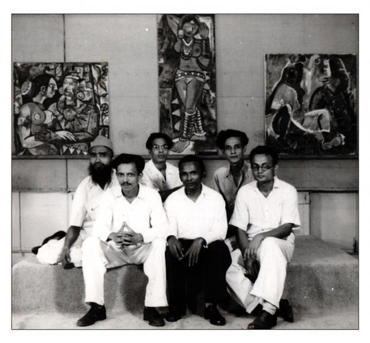 Progressive Artists Group exhibition, 1949. Courtesy The Raza Archives, The Raza Foundation, New Delhi, India