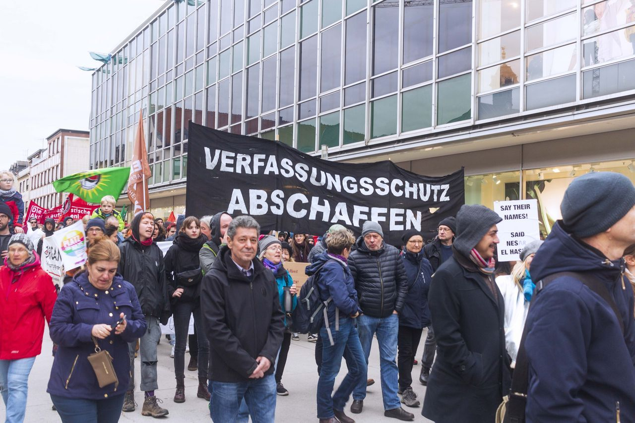 'Dismantle the Domestic Intelligence Agency'—A banner at the demonstration in Hanau