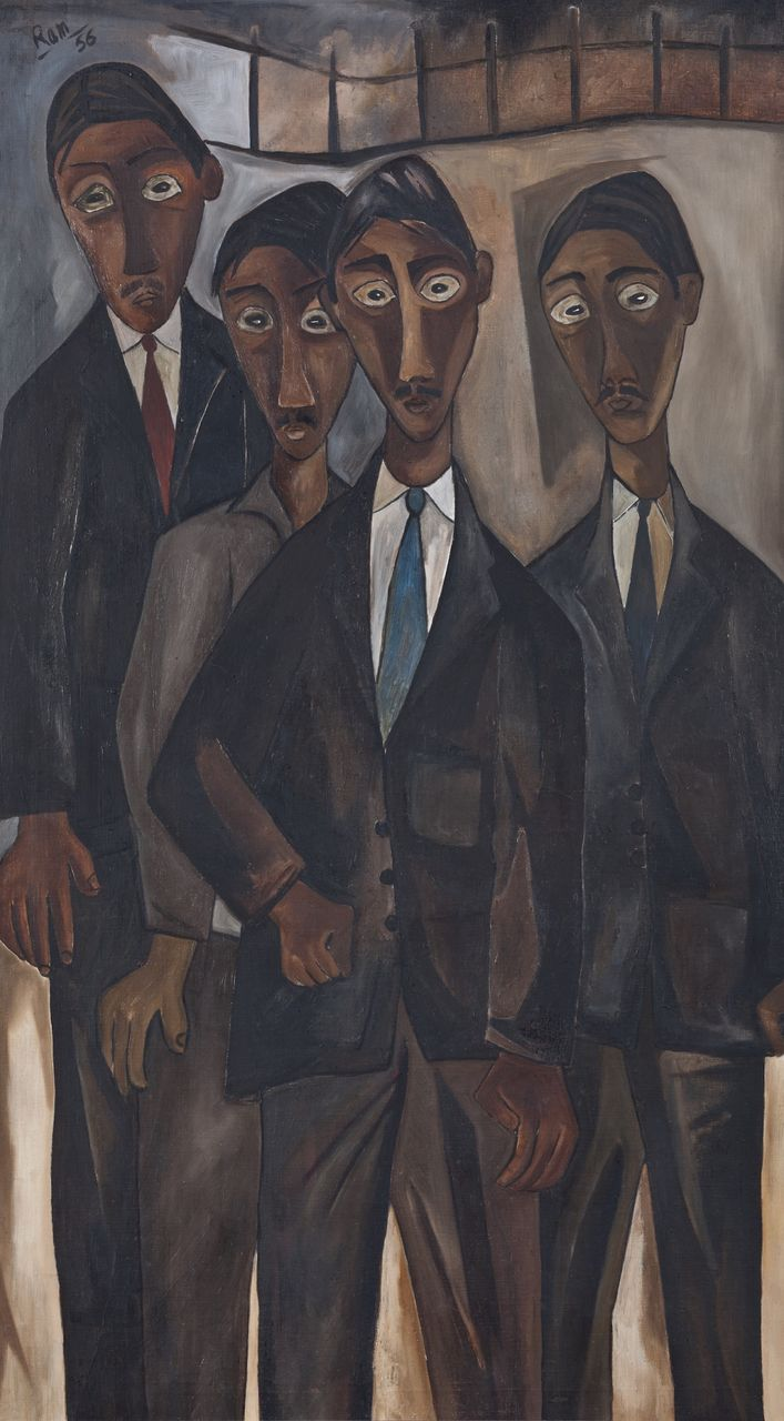 Ram Kumar, Unemployed Graduates (1956). Oil on canvas