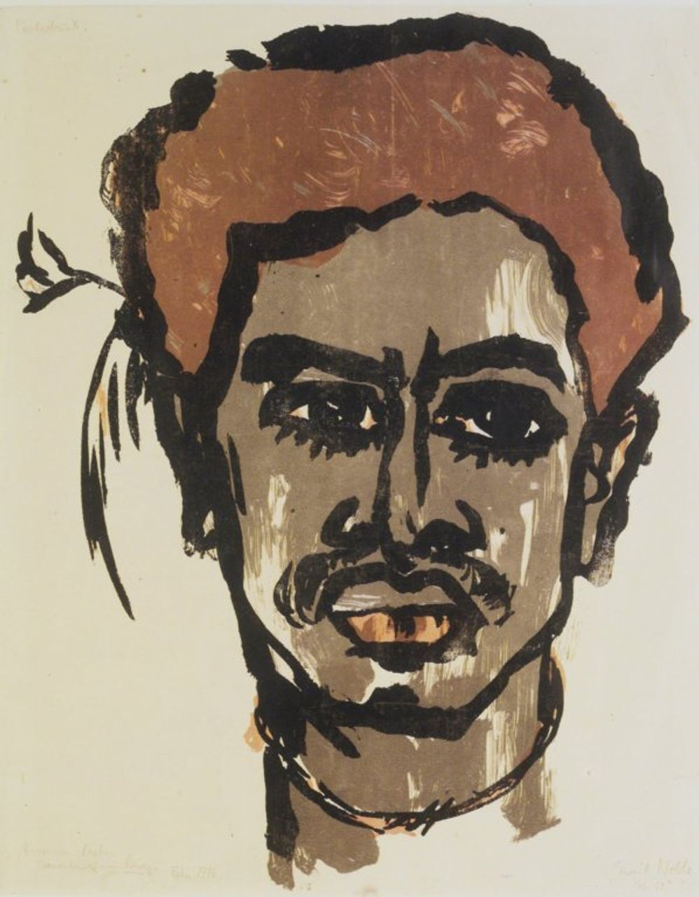 South Sea Islander, Emil Nolde, 1915 lithograph in colors, on wove paper, Brooklyn Museum