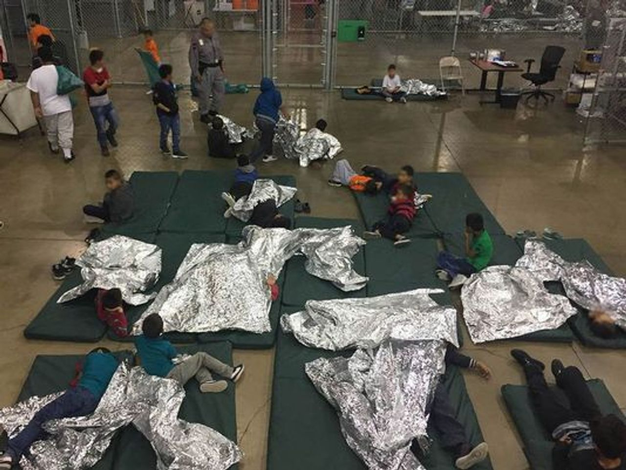 Children detained in a US Border Patrol Processing Center in McCallen, Texas in 2018