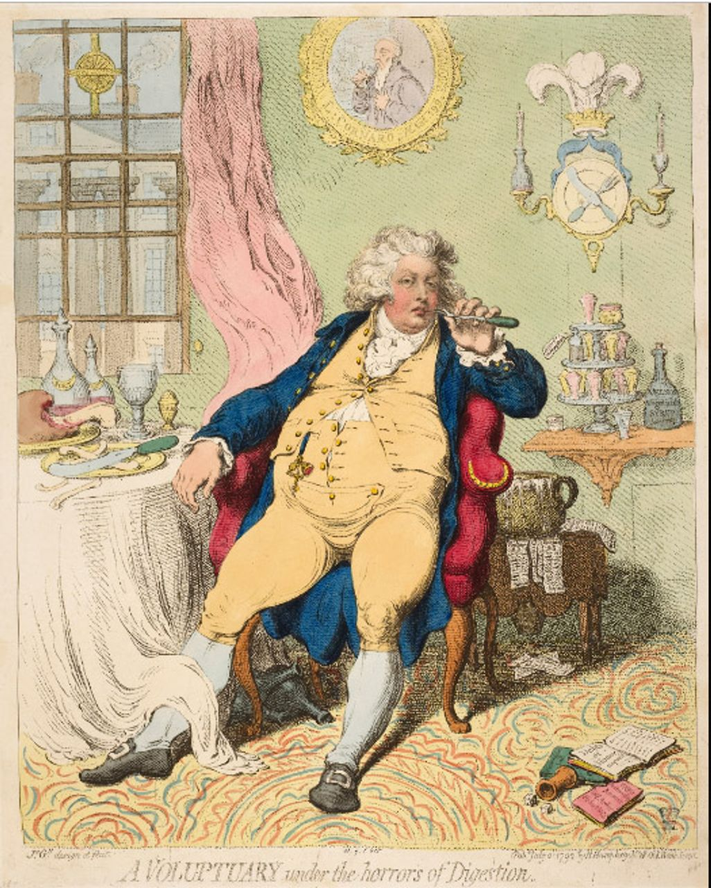 A Voluptuary under the Horrors of Digestion, James Gillray, 1792, courtesy of the British Museum