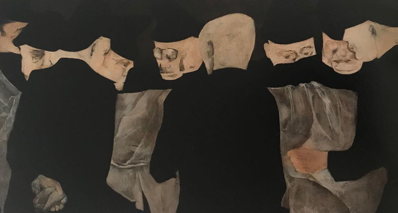 Krishen Khanna, The Anatomy Lesson (1972). Oil on canvas