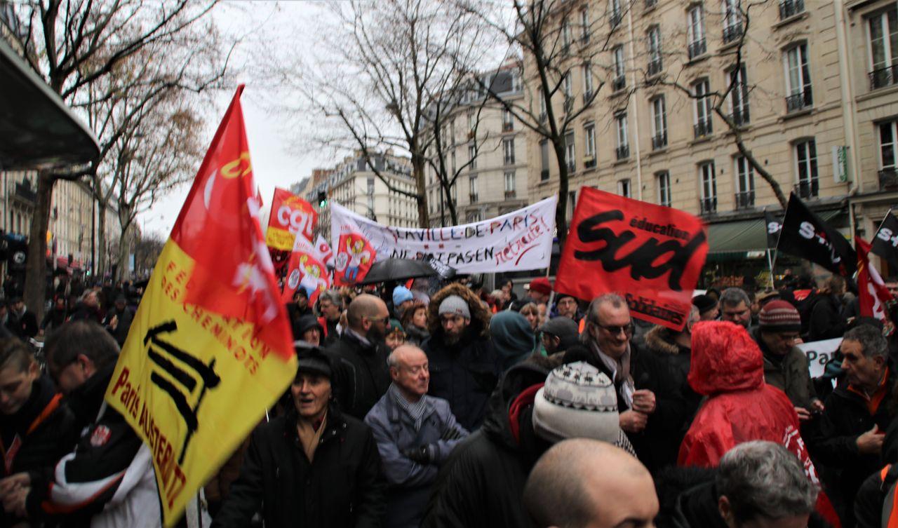 Striking workers demonstrate in Paris