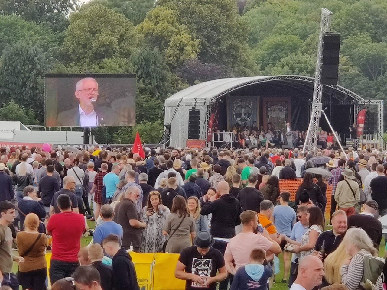 Jeremy Corbyn speaking at the rally
