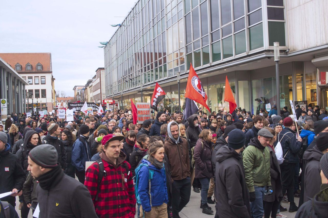 A section of the demonstration in Hanau