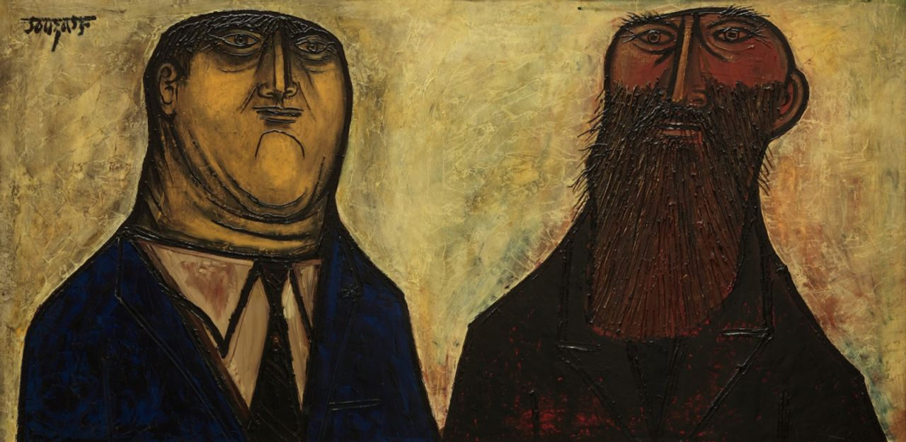F. N. Souza, Tycoon and the Tramp (1956). Oil on masonite