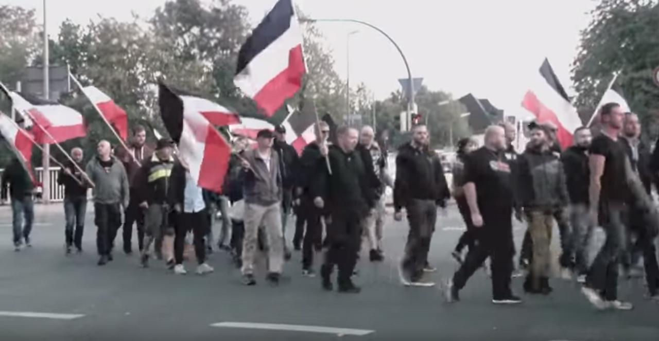 German nazis demonstrating in Dortmund: [Credit: Marcus Arndt]