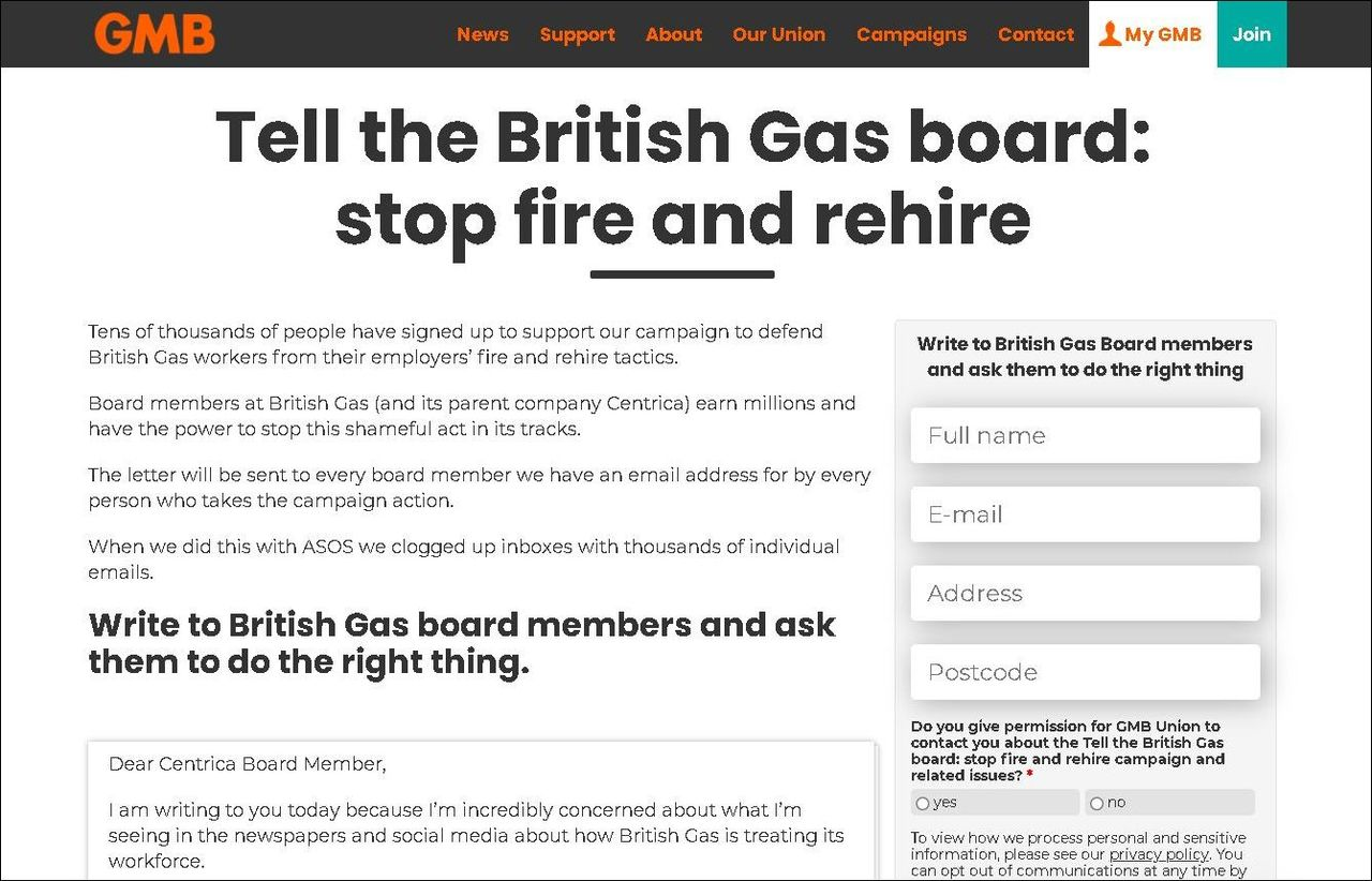 British Gas sends out dismissal notices to strikers effective April 1