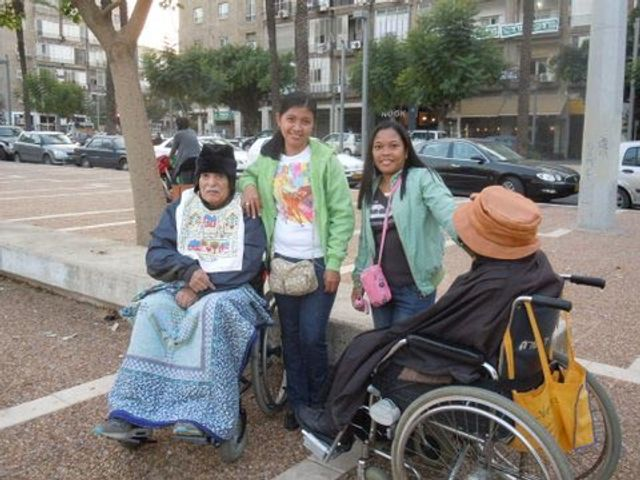 Filipino care workers in Rabin Square, Tel Aviv