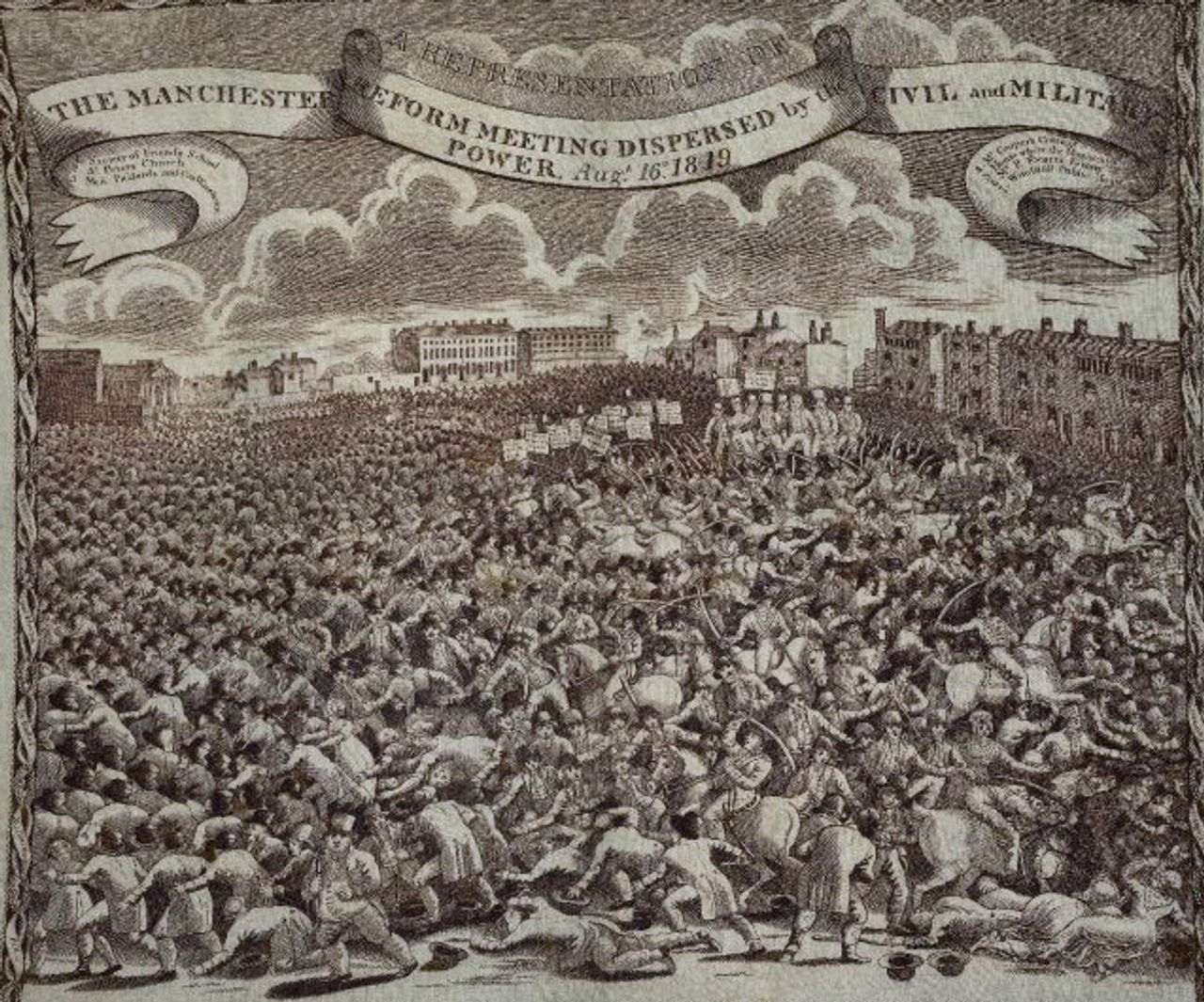 Handkerchief depicting the Peterloo Massacre, courtesy of the British Museum