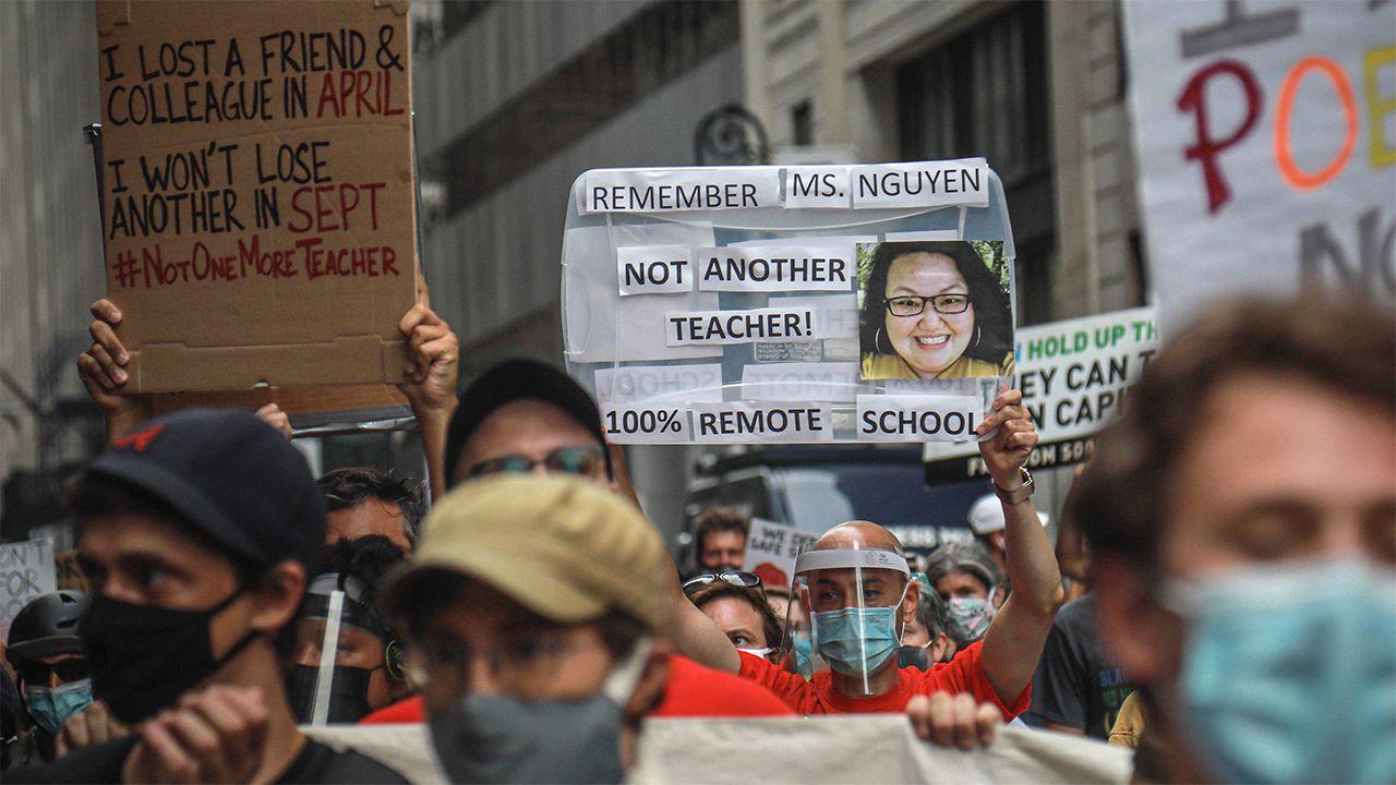 Teachers protest against unsafe school reopening, August 3, 2020, in New York. (AP Photo/Bebeto Matthews)