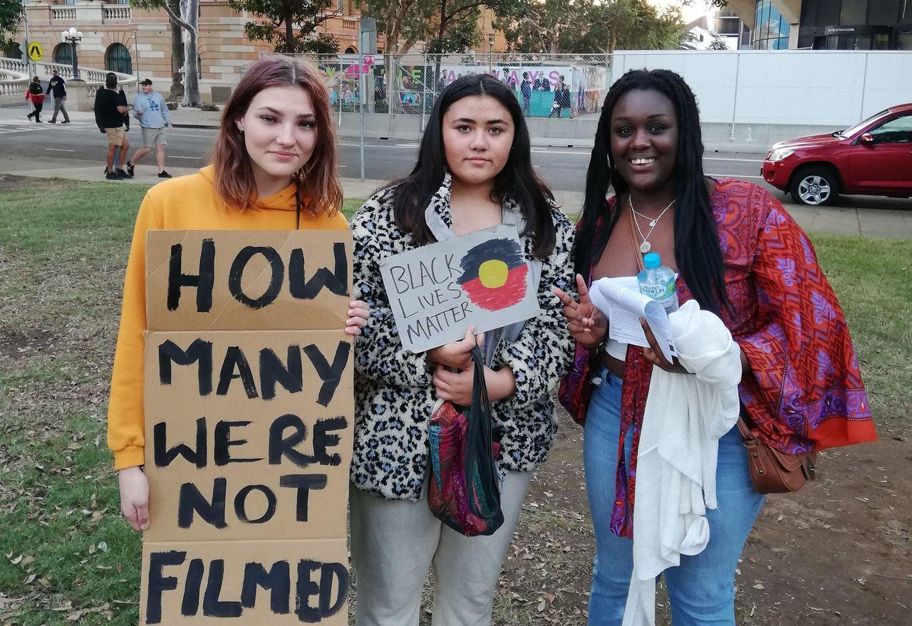 Australian anti-racist demonstrators, including Marsheela, right