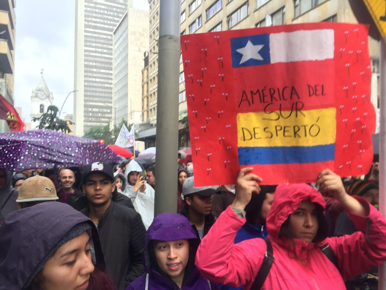 Protester with sign that reads 'South America woke up' with Chilean and Ecuadorian flags (credit: Dylan Baddour via Twitter)