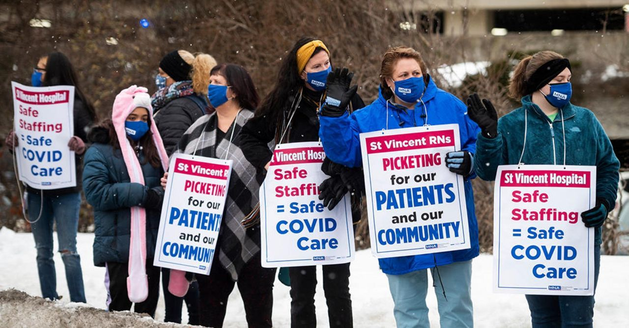 Striking nurses at St. Vincent Hospital starved of strike pay by MNA, as Tenet Healthcare spends millions