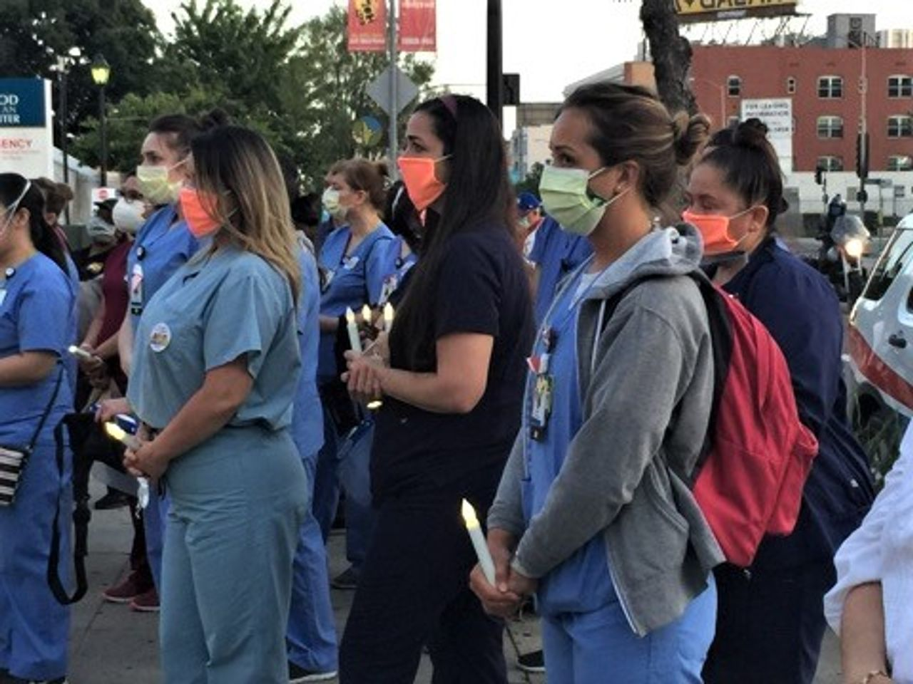 May 6 candlelight vigil for Celia Marcos, a nurse who died from COVID-19 at Hollywood Presbyterian hospital (Photo credit: Wally Skalig, LA Times)