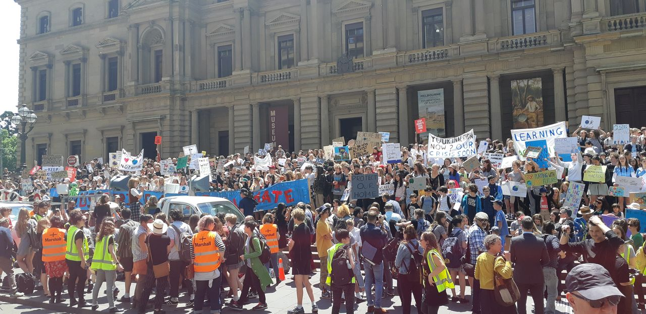 Part of the rally in Melbourne