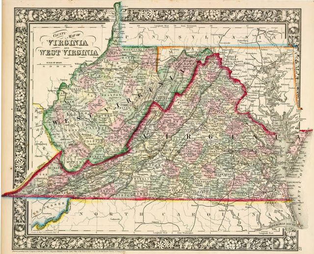 1863 map of West Virgina and Virginia from the Library of Congress