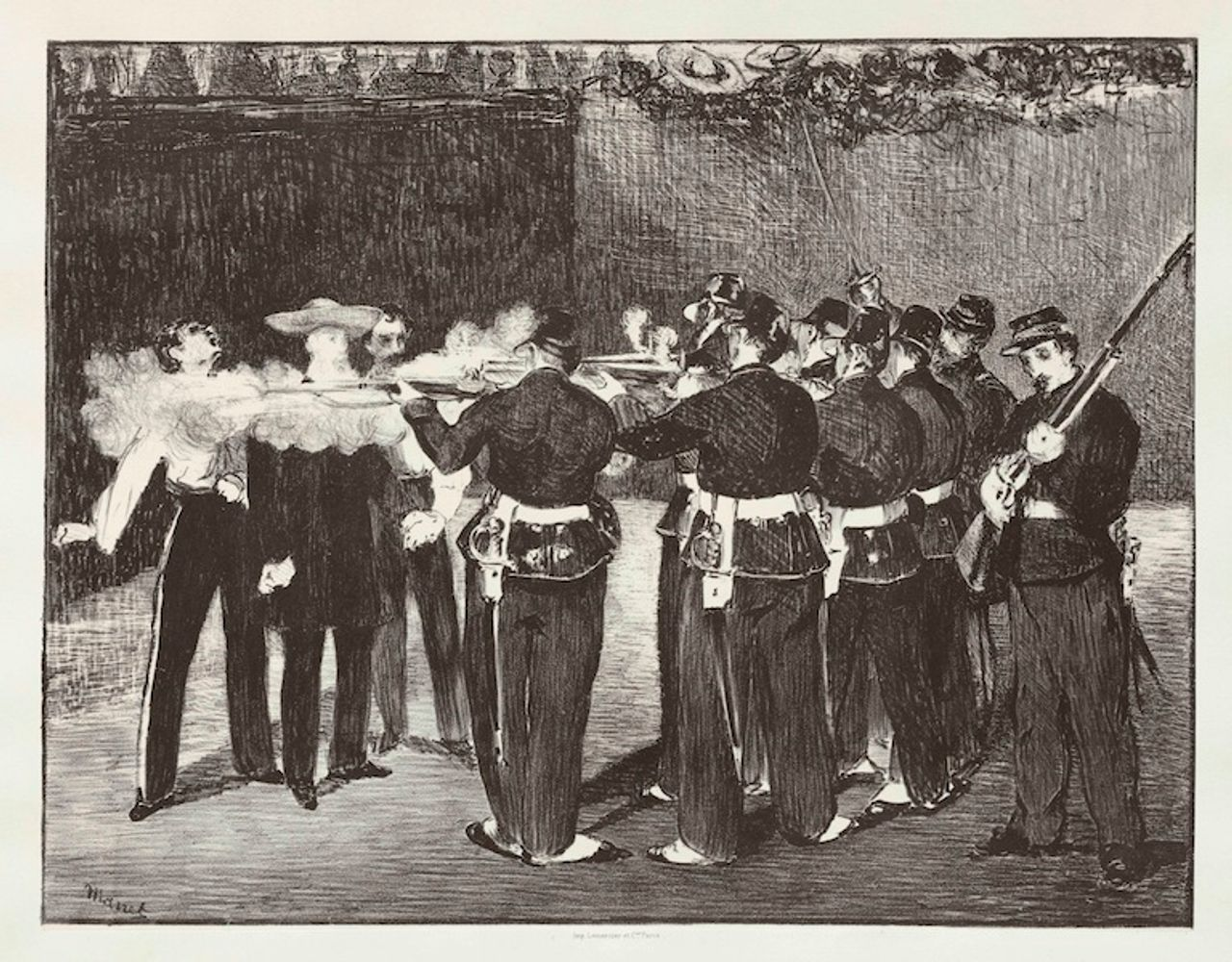 Execution of Maximilian, Édouard Manet, lithograph, 1868