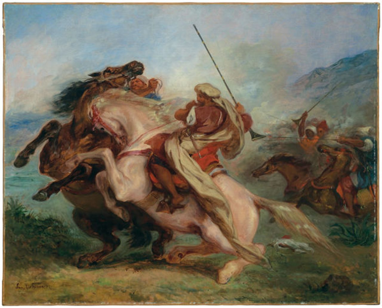 Collision of Arab Horsemen, 1833-34, Delacroix painting