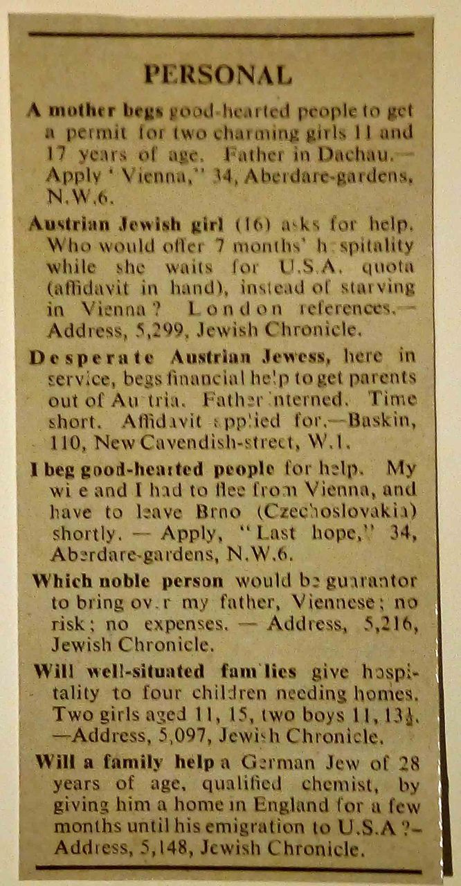 Jewish Chronicle adverts asking for help