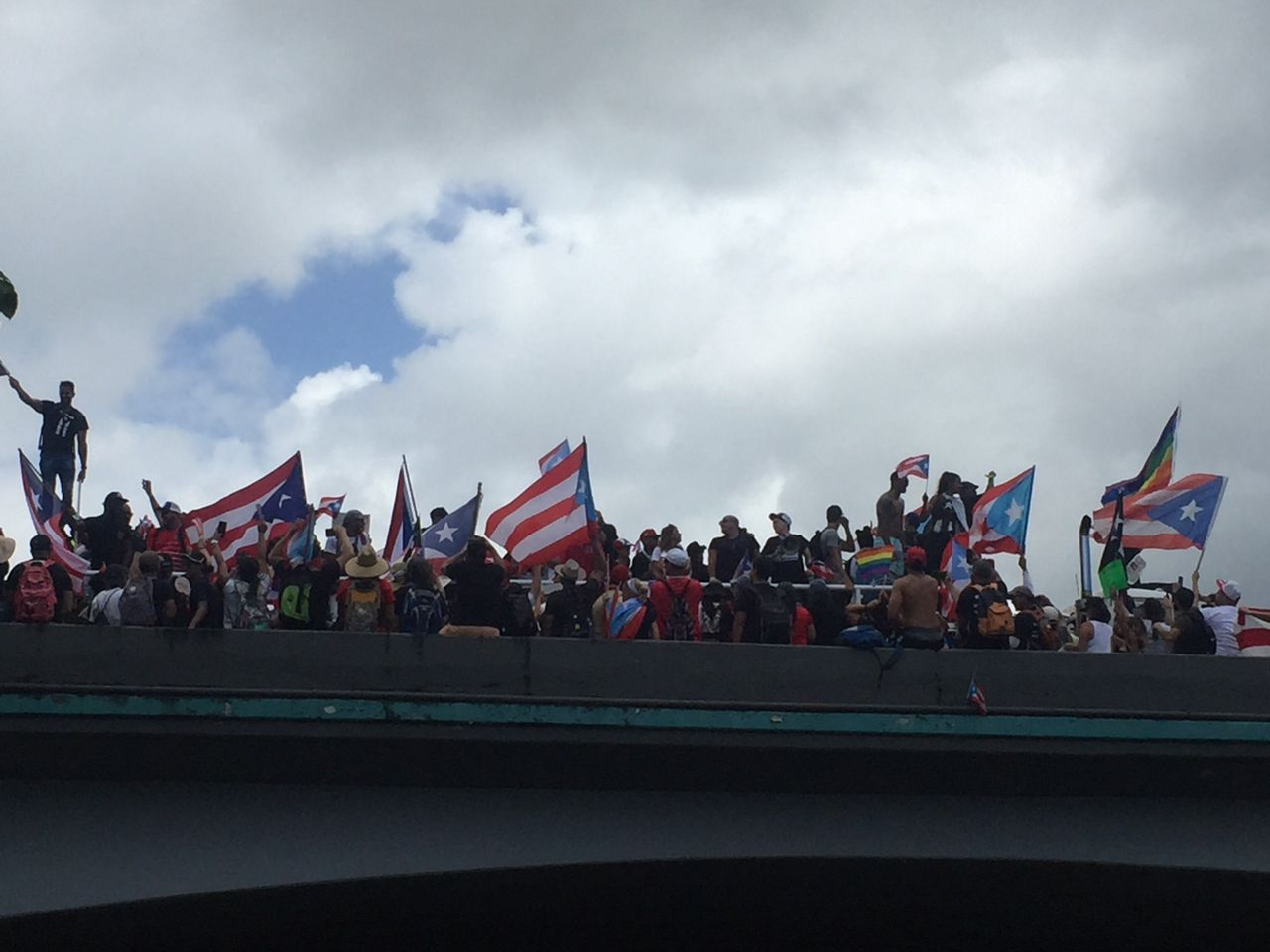 Protesters in San Juan occupy a highway overpass