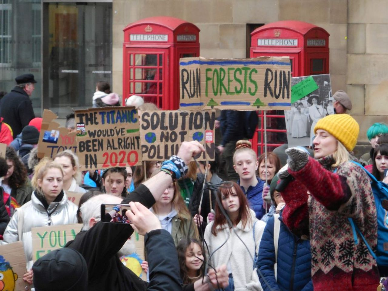 A section of the protest against climate change in Manchester, England's St Peter's Square