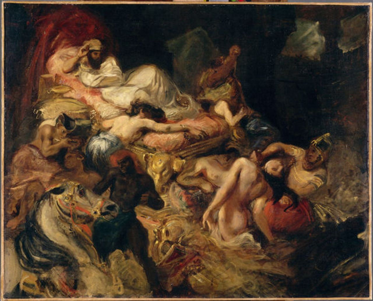 Death of Sardanapalus, sketch, 1826-27