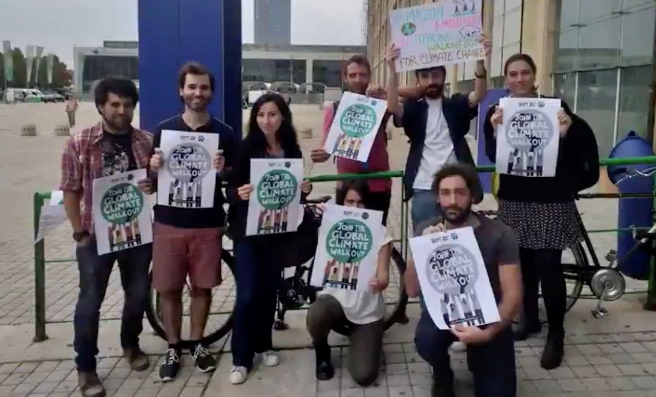 Amazon employees in Turin, Italy participating in the climate strike on September 20