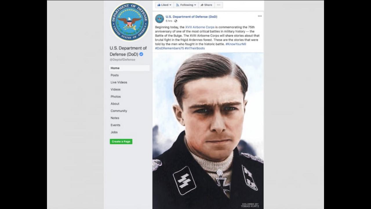 SS war criminal Peiper, on U.S. Department of Defense Facebook page