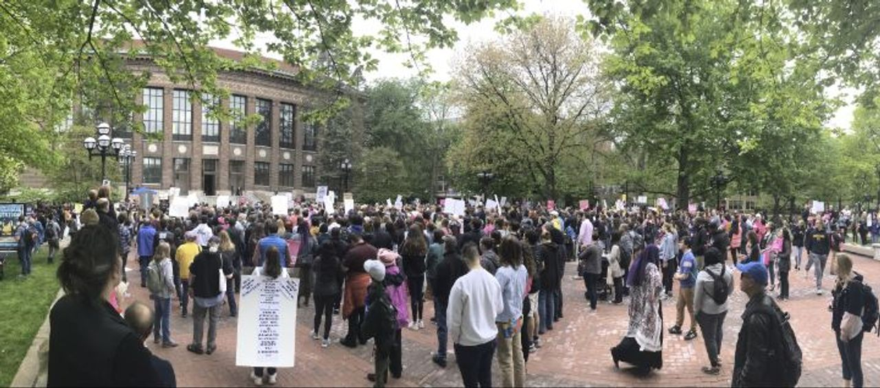 The protest on the Diag at the University of Michigan in Ann Arbor
