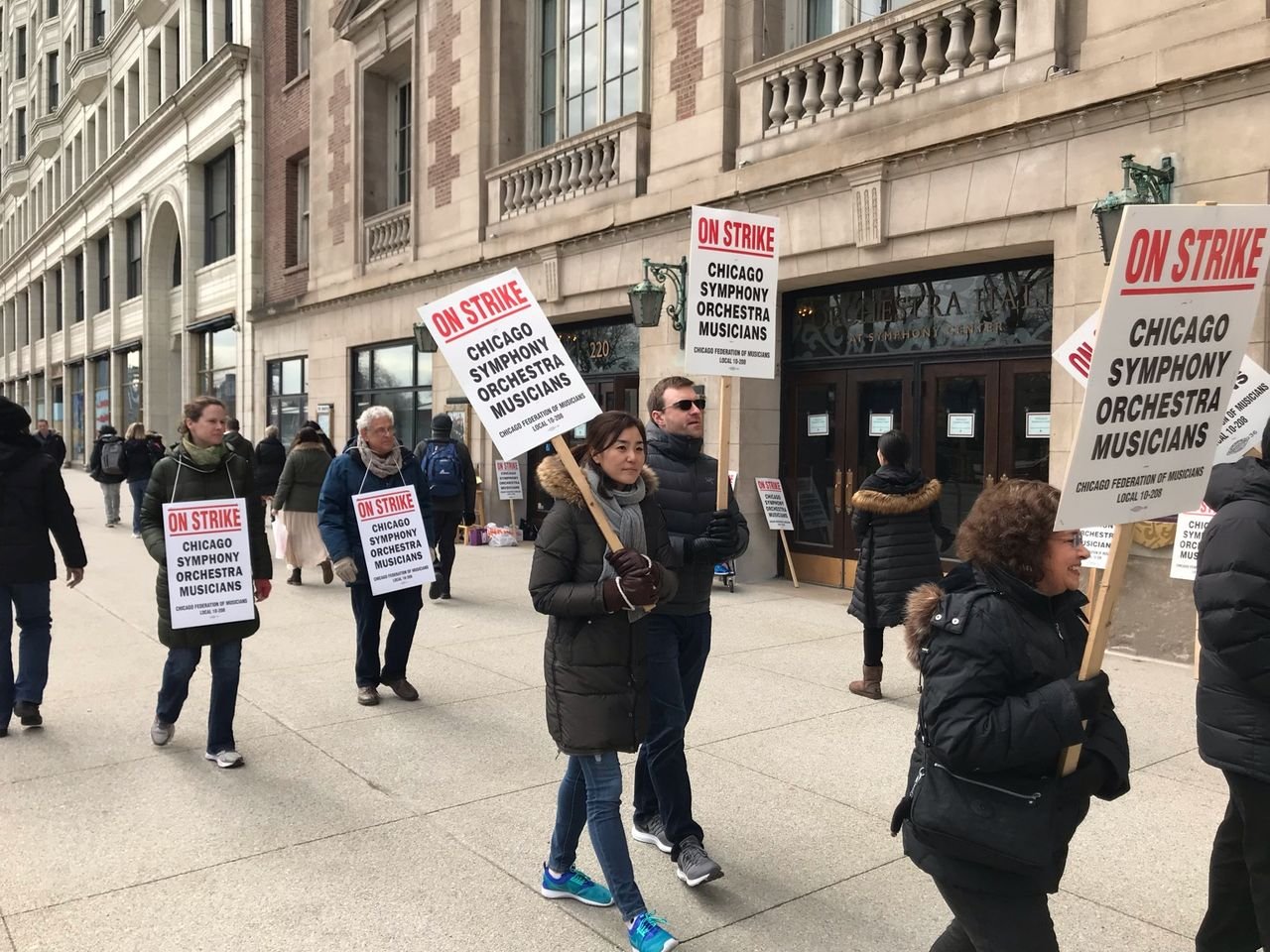 A section of the Chicago Symphony Orchestra strike picket