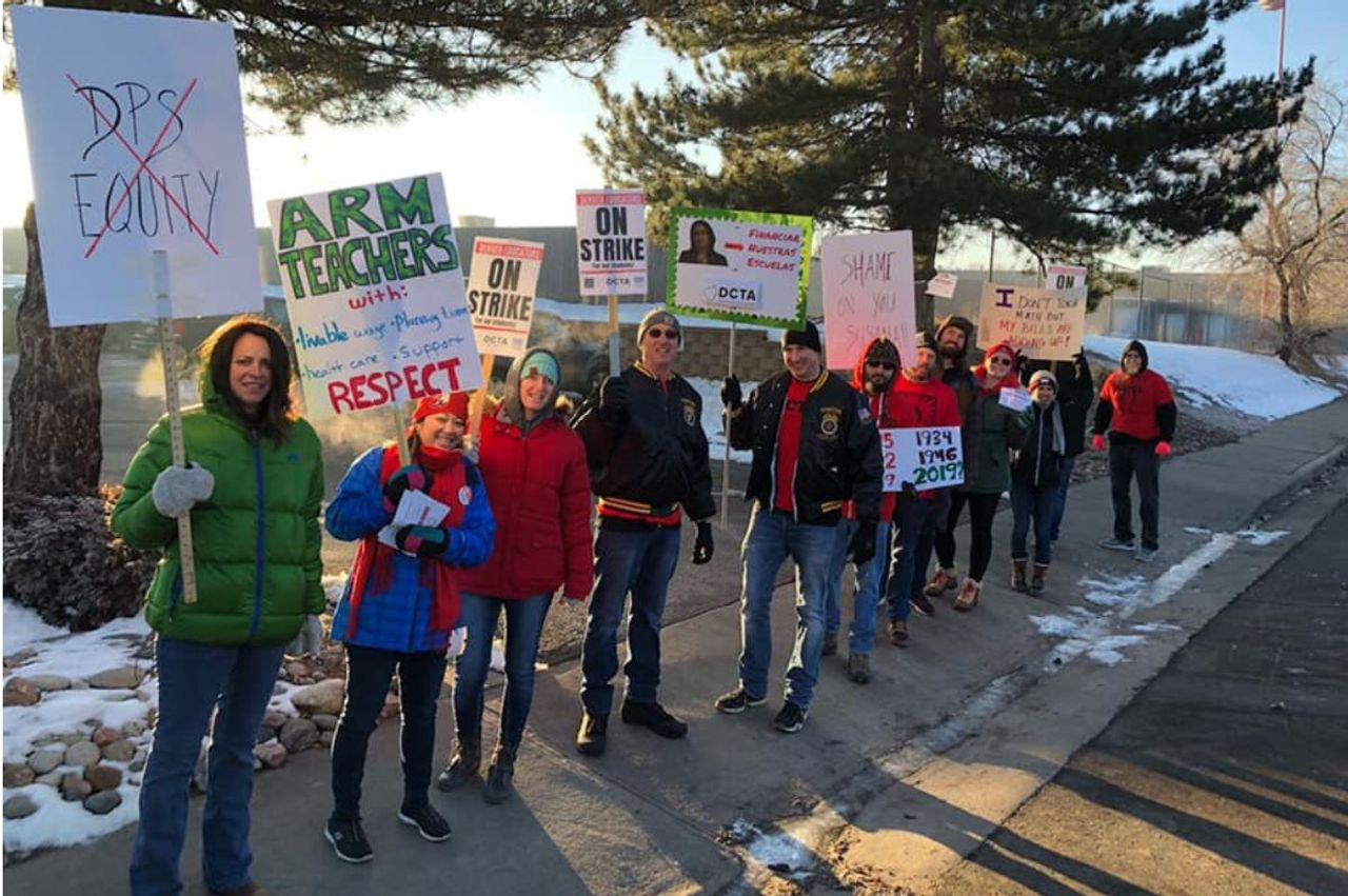 Striking Denver, USA teachers hit picket lines Monday morning