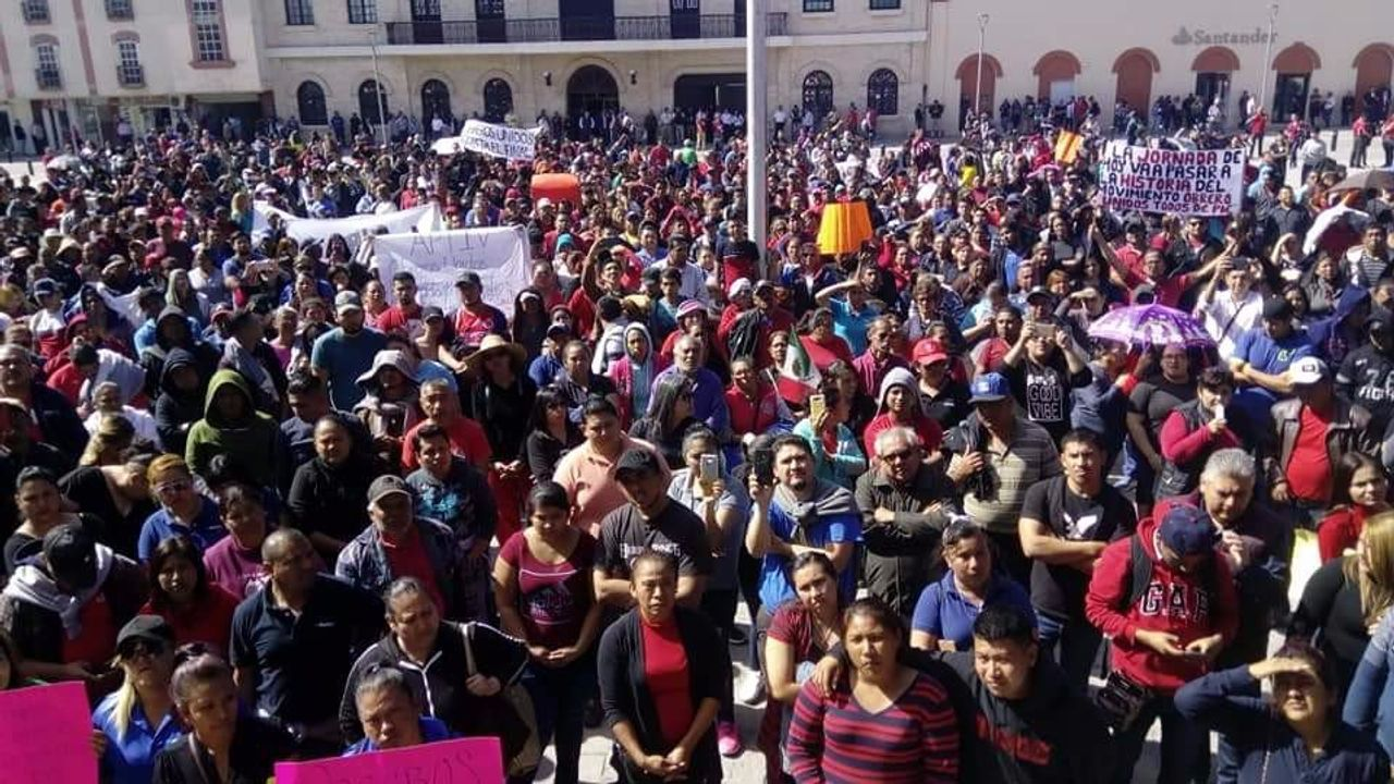 A Day Without Workers protest at Matamoros city square