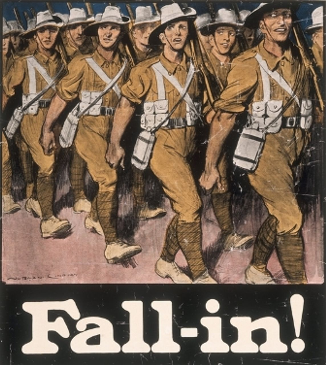 Fall in! Recruitment poster (ARTV00027 image courtesy Australian War Memorial)