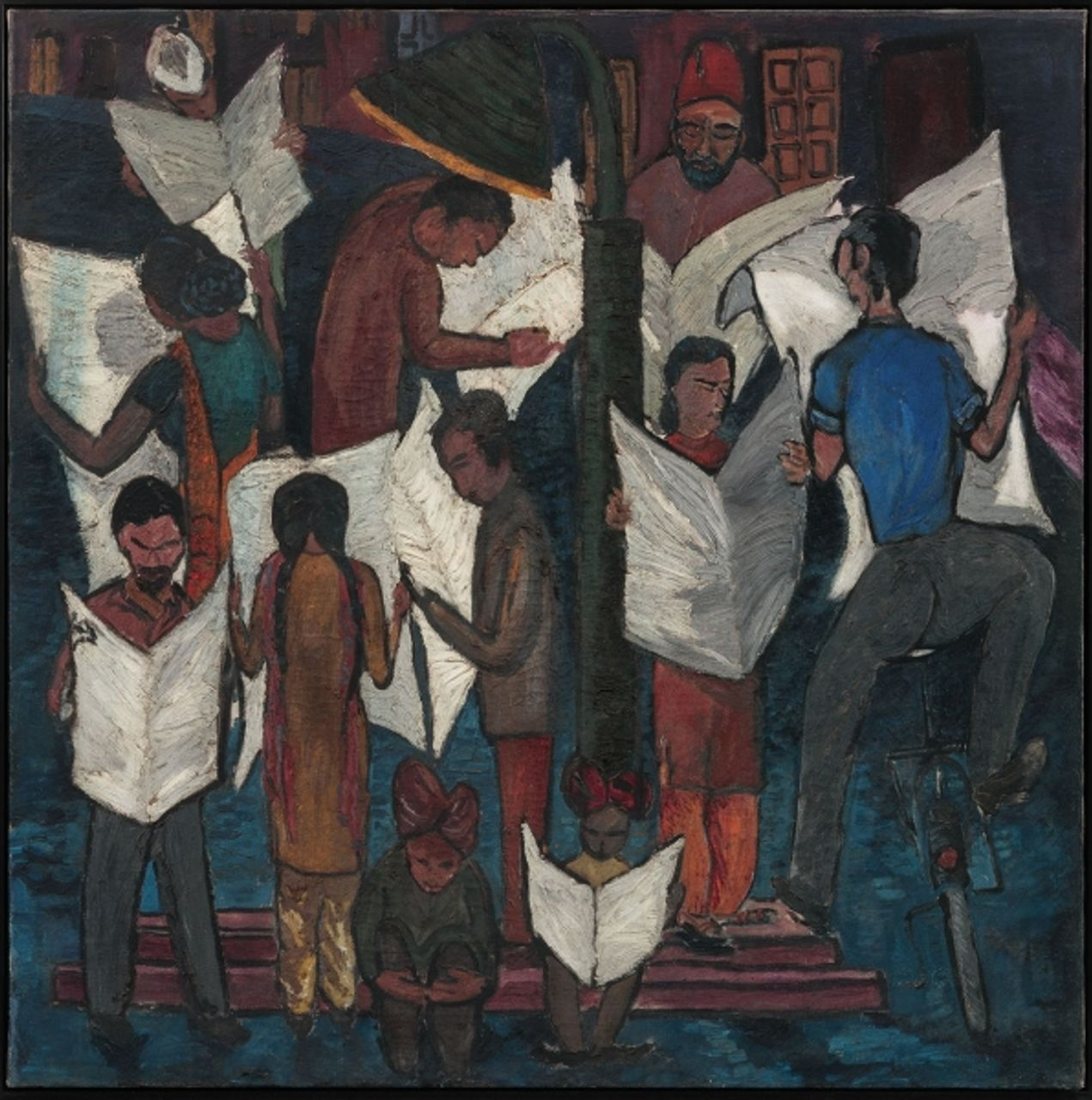 Krishen Khanna, News of Gandhiji's Death (1948). Oil on canvas