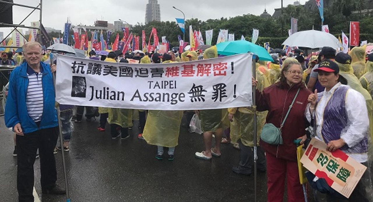 Freedom for Assange Group at Taipei, Taiwan May Day march