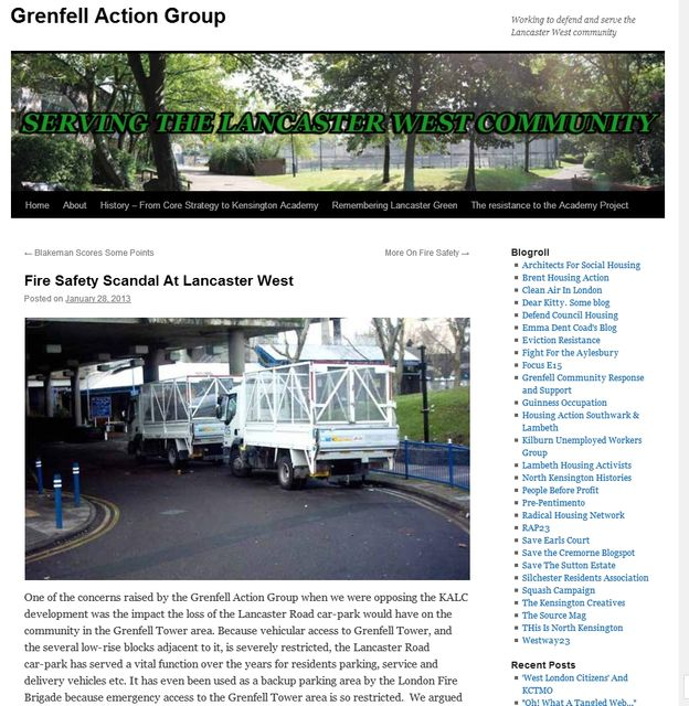 Screenshot Of Grenfell Action Group Website Showing Their Opposition In 2013 To Plans That Would Further Restrict Emergency Vehicle Access