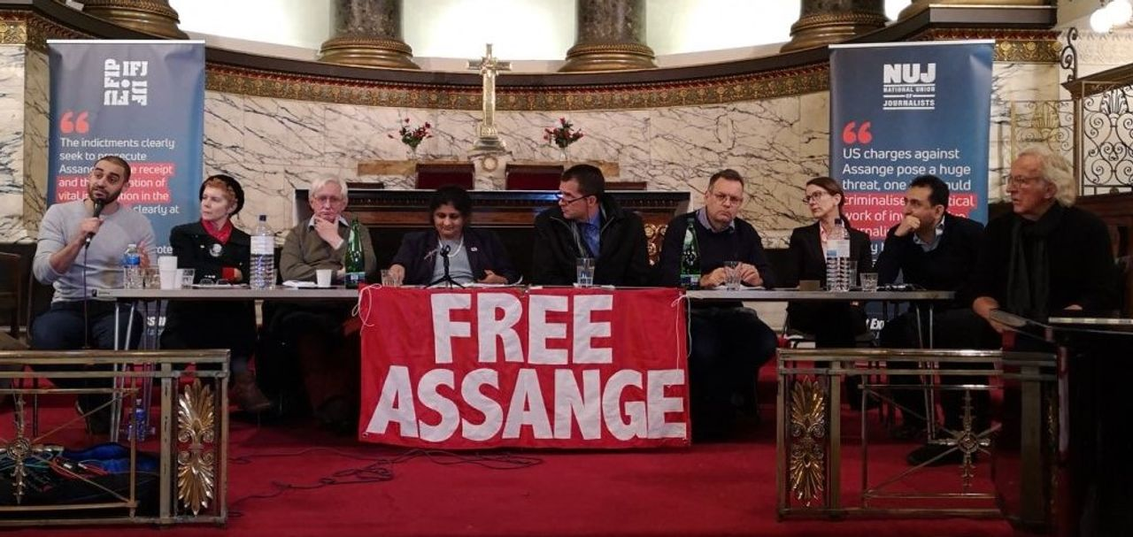 The platform at the London Free Assange meeting