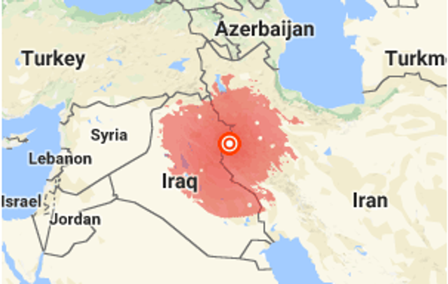 Earthquake near iran iraq border kills hundreds and injures a usgs map depicts the epicenter of sundays earthquake gumiabroncs Image collections