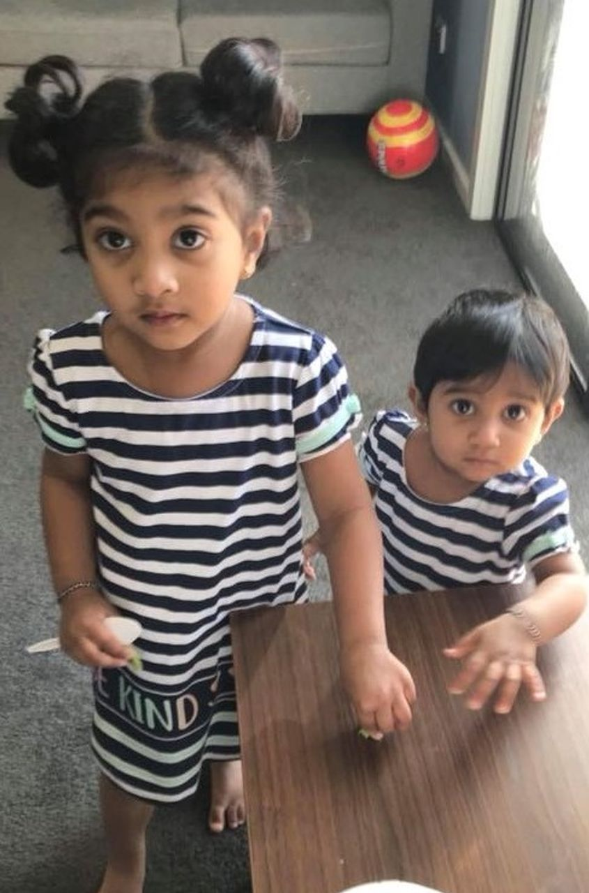 Australian-born daughters, Dharuniga and Kopiga