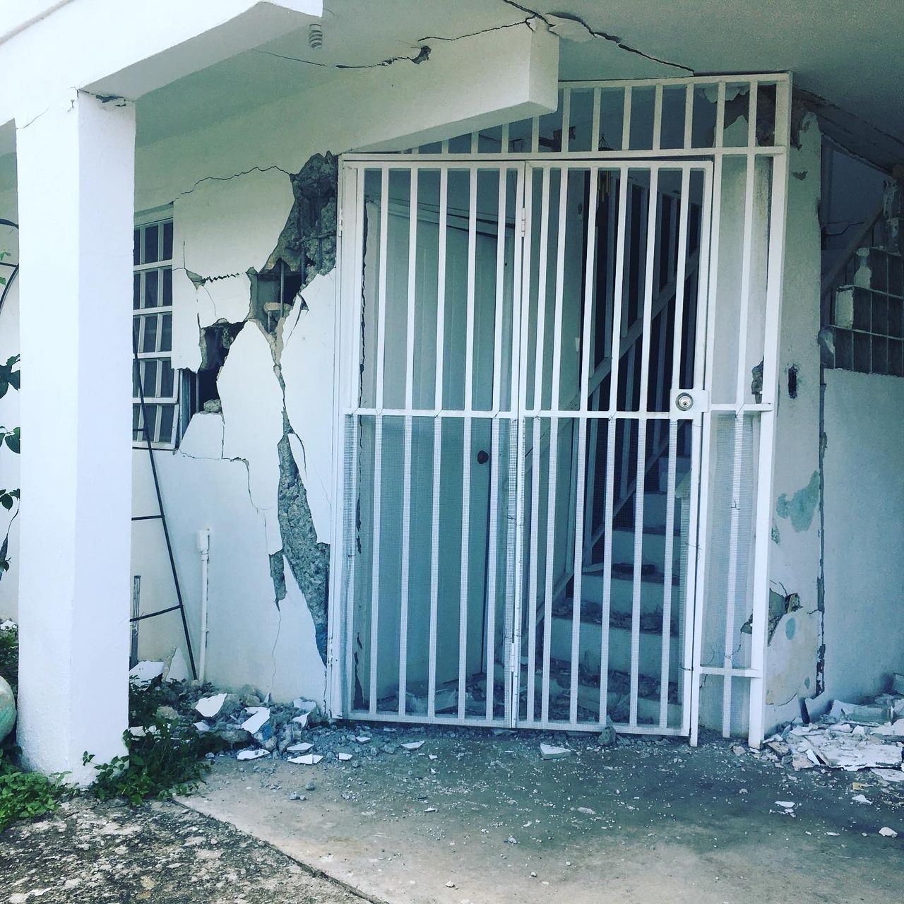 Structural damage on a house in southern Puerto Rico