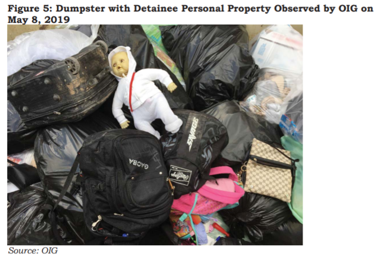 Dumpster with detainee personal property