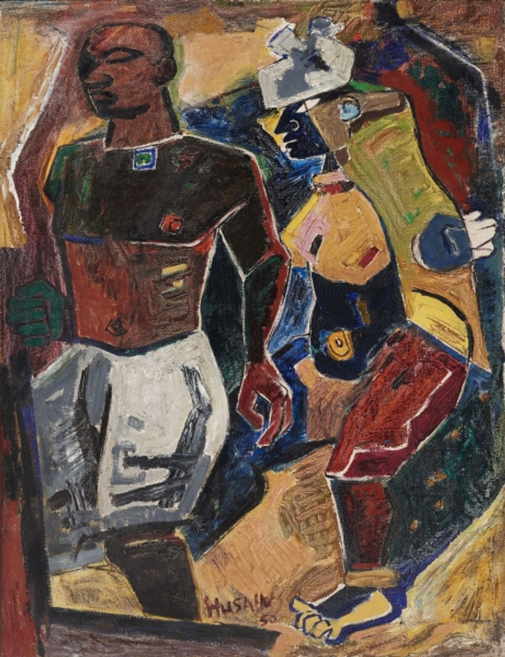 M. F. Husain, Peasant Couple (1950). Oil on canvas. Courtesy of the Peabody Essex Museum, Salem, MA.
