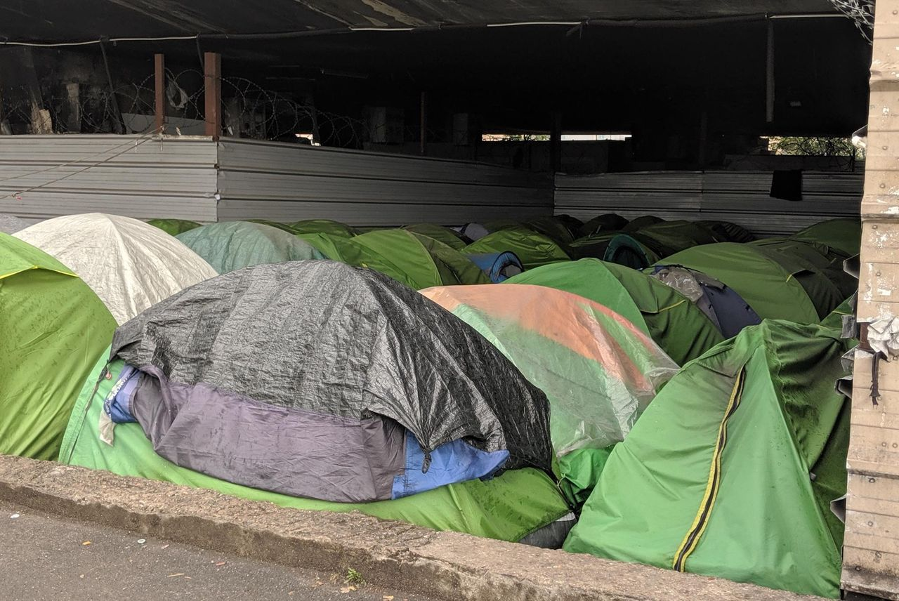 Refugee tents under a highway in Saint Denis, near Paris, France