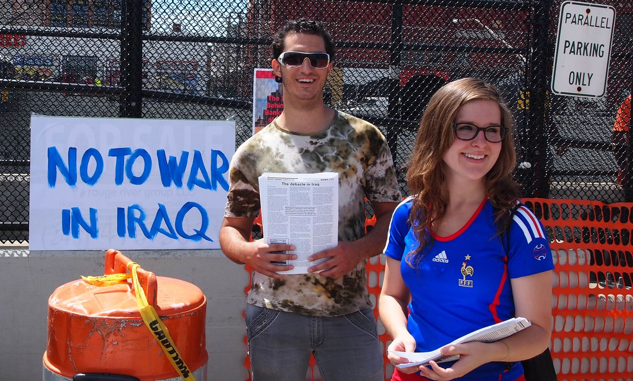 Vessy and Johanna in Detroit against war in Iraq