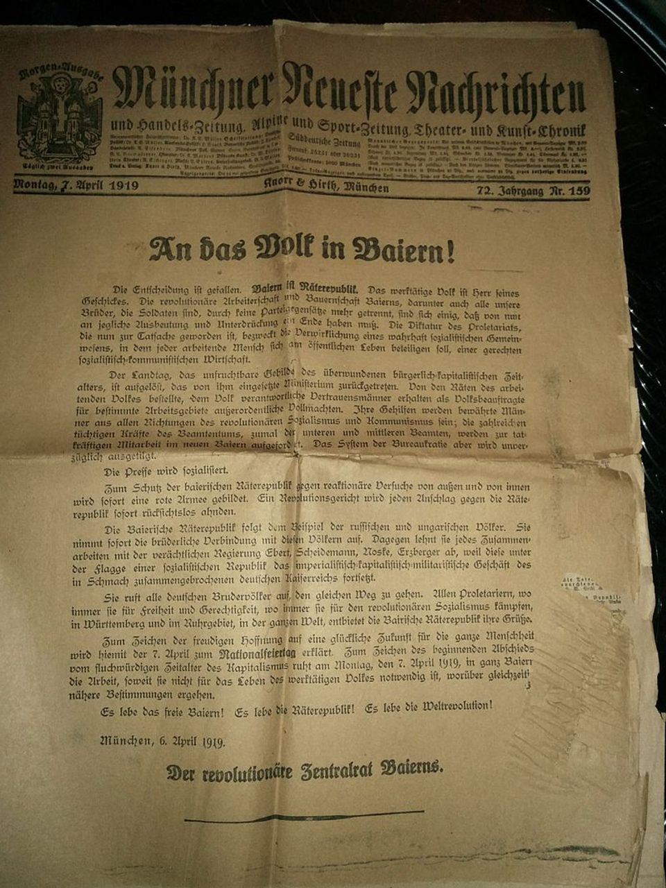 The declaration of the Bavarian Soviet Republic in a Munich newspaper on 7 April 1919