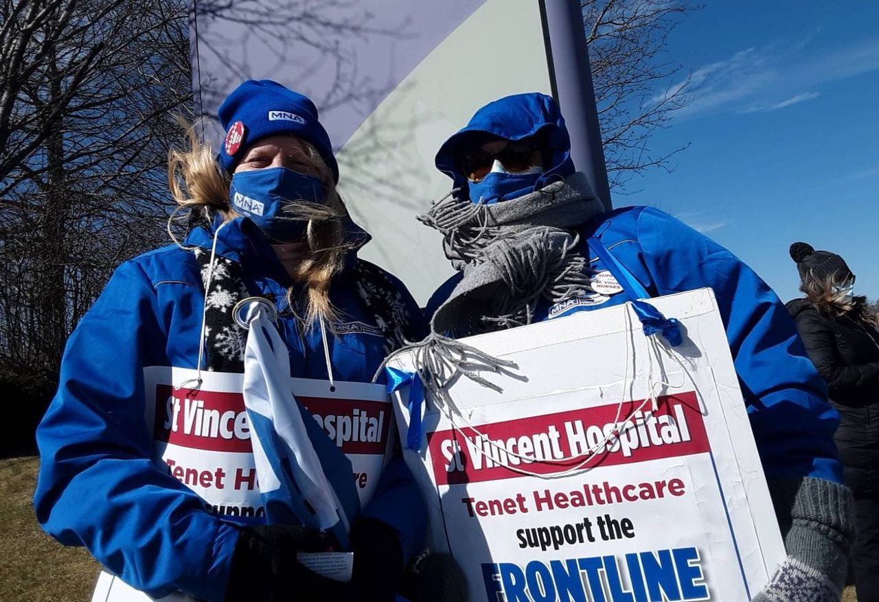 St. Vincent Hospital nurses in Worcester, Mass. in second week of strike for safe staffing ratios