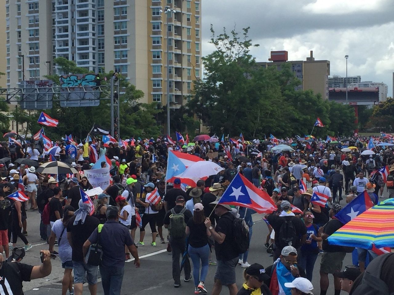 A section of the San Juan protest